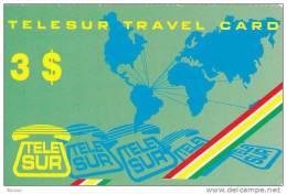 Surinam, $3, Telesur Travelcard, 2 Scans. - Suriname
