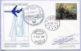 Flugpostkarte Kopenhagen - Leipzig Zur Leipziger Herbstmesse 1986 Zuleitung Ab Tvöroyri (268) - Färöer Inseln