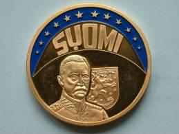 ECU SUOMI 1997 / Goudkleurige PENNING Met Blauwe Glazuur ( Details Zie Foto´s) !! - Jetons & Médailles