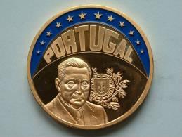 ECU PORTUGAL 1997 / Goudkleurige PENNING Met Blauwe Glazuur ( Details Zie Foto´s) !! - Jetons & Médailles