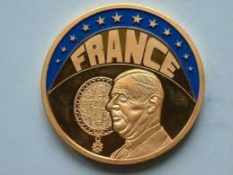 ECU FRANCE 1997 / Goudkleurige PENNING Met Blauwe Glazuur ( Details Zie Foto´s) !! - France