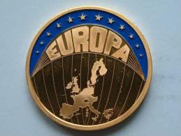 ECU EUROPA 1998 / Goudkleurige PENNING Met Blauwe Glazuur ( Details Zie Foto´s) !! - Non Classés