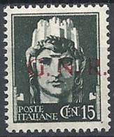 1944 RSI GNR BRESCIA I TIPO 1° TIRATURA 15 CENT MNH ** - RSI054 - 4. 1944-45 Repubblica Sociale