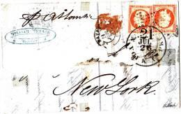 Lettre Par Bateau Pour NEW YORK Affranchissement 80 C  Pôsition Tete Beche - 1853-1860 Napoléon III.