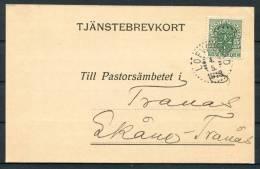 1918 Sweden Official Tjanstebrevkort Postcard Lofvestad - Skane