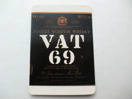 Drink Scotch Whisky Vat 69 Portuguese Pocket Calendar 1988 - Calendriers