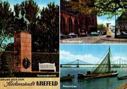 AK Krefeld, Rheinbrücke, Am Hauptbahnhof, Husarendenkmal, Gel 1959 - Krefeld