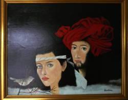 Man En Vrouw Met Vogel - Quentana - Olieverf