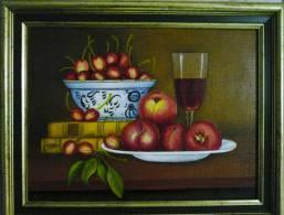 Fruit Met Boeken En Glas Rode Wijn - Quentana - Olieverf