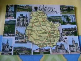 21 - COTE D'OR - CARTE GEOGRAPHIQUE - VERSO DESCRIPTIF VERSO - CPSM CARTE PHOTO VIERGE VERS 1965 - France
