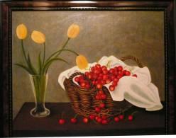 Kersen En Tulpen - Quentana - Olieverf