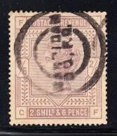 Great Britain Used Scott #96 2sh6p Victoria, Lilac Position CF - Faded - Oblitérés
