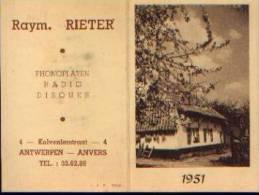 Calendrier De Poche 1951 ( Publicité Raym. RIETER - ANTWERPEN) - Calendriers