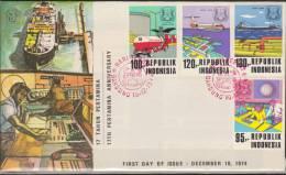 Indonesia, 1974, Pertamina Oil Company, Boat, Platform, Airplane, Drilling, Tank Trunk, Two FDCs - Trasporti