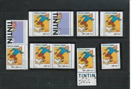 Journée Du Timbre 2000. Tintin. Ensemble Des Timbres De Feuilles, Carnets Et Bloc Feuillets+ Se Tenant Neuf ** - Francia