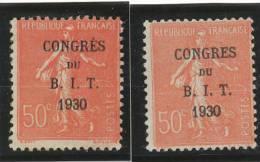 50 C. Rouge Semeuse Lignée. Congrès Du BIT. Ex.normal * + Congrès. Sans Accent ** - Francia