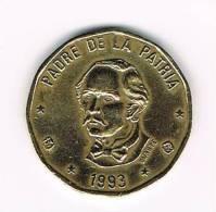 DOMINICAANSE  REPUBLIEK  1 PESO  1993 - Dominicaine