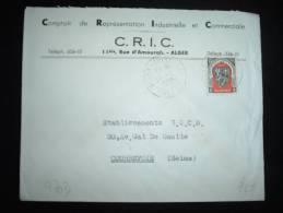 LETTRE POUR A FRANCE TP ALGER 15F OBL. 11-2-1950 ALGER-RUISSEAU ALGER + ENTETE CRIC - Covers & Documents