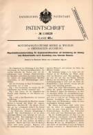 Original Patentschrift - Motorfahrzeugwerke Heinle & Wegelin In Oberhausen - Augsburg , 1899 , Magnetzündung Für Motoren - Historische Dokumente