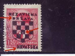 COAT OF ARMS-1.50 DIN-OVERPRINT-NDH-ERROR-D-CROATIA-1941 - Kroatien