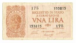 "1 Lira - 23.11.1944. Brown On Pink Underprint. ""Italia"" At Left. Back: Green. Signature Ventura, Simoneschi And Giovinco - [ 1] …-1946 : Royaume"