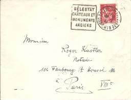 """DAGUIN """"  SELESTAT CHATEAUX ET MONUMENTS ANCIENS """" - 1937 - Sur Enveloppe - Au Dos PARIS VIII DISTRIBUTION - 1921-1960: Modern Period"""