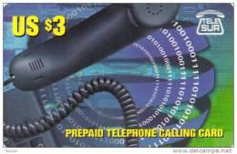 Surinam, $3, Prepaid Card, Phonehandle, 2 Scans.