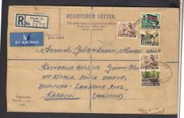 Wood Carving, Facing Mount, Flags, Registered Cover From Nairobi 'A' KENYA 19-7-1964 Postal History Cover, Folding Creas - Kenia (1963-...)
