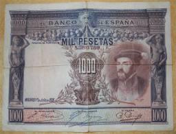 1925 Banco De Espana 1000 Pesetas Billet édité Madrid 1 Juillet Scans Recto-verso - [ 1] …-1931 : Premiers Billets (Banco De España)