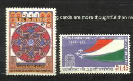 INDIA, 1973, Wheel Of Ashoka, Naga, And India Ghat Planes, Set 2 V, MNH, (**) - Nuovi