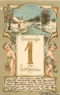 NOUVEL AN ANGES ANGELOTS ITALIE GENNAJO 1 BUON CAPO D'ANNO CARTE GAUFFREE ET DORURE - Anges