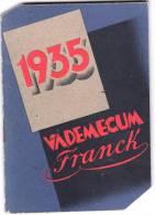 """PUBBLICITA'_ADVERTISING-1935 VADEMECUM VERO CAFFE' """"FRANCK""""CALENDARIETTO 1935- BEN CONSERVATO-COMPLETO-ORIGINALE 100% - Pubblicitari"""