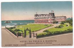 CPSM Pub Biarritz 64 Pyrénées Atlantiques Hôtel Du Palais Pattard DG édit Orelli Pussli à Zurich écrite Bon état - Biarritz