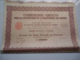 GRECO Construction Revetement Routes (capital 2 Millions) 1930 - Unclassified