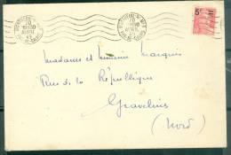 Oblitération Montreuil Sur Mer Catalogue Dreyfuss MON735 EN 1949 / Lettre Affranchie Par Yvert N°827  - Am3904 - Postmark Collection (Covers)