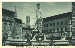 Old Postcard, Italy, Art, Sculpture - Firenze, Fontana Del Nettuno - Sculpturen