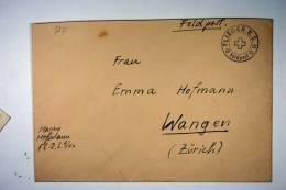 Switzerland WWII Flieger R.S. Feldpost 1940 To Wangen/Zürich