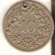 MONEDA DE SUIZA DE 10 RAPPEN DEL AÑO 1881 (COIN) AGUJERO - Suiza