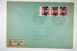 Sudetenland, 1938, Handstempelaufdruck  Wir Sind Frei, Reg. Cover Ober Preschau/Horni Prysk To Prag Strip 3x