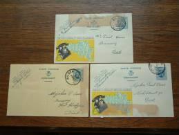 3 Gele Briefkaarten / Bestelling Hectoliters BIER ( Ramakers / Withofs Aan Ooms ) Anno 1934 ( Zie Foto's Voor Détails ) - Bilzen