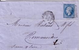 N°22 Rare CACHET TP BLEU OVALE DE CONTROLE DE L´IMPRIMERIE+OBLI. C P1°-CHERBOURG A PARIS 1° AMBULANT DE JOUR 20-6-1863 - Marcophilie (Lettres)