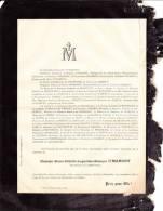 Faire-part Décès Marie-Félicité-Augustine- Monique O´MAHONY, Religieuse Du Sacré-Cœur, 1887 - Esquela