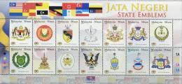 MY0164 Malaysia 2007 States State Flag State Emblem Sheet 14v MNH - Malaysia (1964-...)