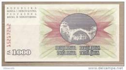 Bosnia Erzegovina - Banconota Non Circolata Da 1000 Dinari - 1992 - - Bosnia And Herzegovina