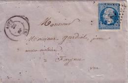 VAR - AUPS DU 26 JUILLET 1860 N°14 OBLIETRATION PC183 SUR PETITE ENVELOPPE SANS TEXTE-INDICE 7. - 1849-1876: Classic Period