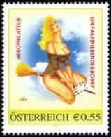 """Personalisierte Briefmarke PM 8004355 """"Aerophilatelie Ein Faszinierendes Hobby"""" Hexe Befördert Luftpost Brief - Austria"""