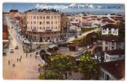 EUROPE MACEDONIA SKOPLJE THE VIEW OF THE CITY JAMMED OLD POSTCARD - Macedonia