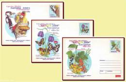 Romania 2004 - Environment & Fauna Protection 3 Stationery Covers, Butterfly, Woodpecker, Mushrooms, Bird - Ganzsachen