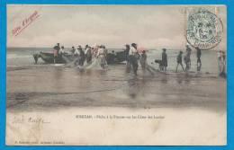 MIMIZAN     Pêche à La Pinasse Sur Les Côtes Des Landes  Animées   écrite En 1906 - Mimizan