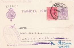 "ESPAGNE - 1922 - CARTE ENTIER POSTAL (""TELEGRAMES : HERIMAIER"") De BARCELONA Pour AUGUSTENTHAL (ALLEMAGNE)"